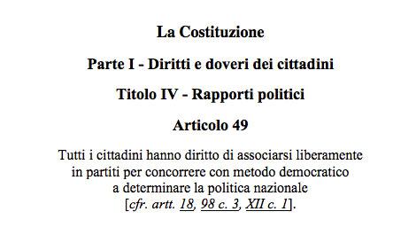 Articolo 49 Costituzione